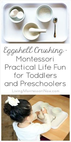 Montessori eggshell crushing is a super-popular practical life activity with toddlers and preschoolers. Montessori eggshell crushing is a super-popular practical life activity with toddlers and preschoolers. Maria Montessori, Montessori Trays, Montessori Homeschool, Montessori Classroom, Montessori Toddler, Montessori Materials, Montessori Activities, Toddler Learning, Toddler Fun