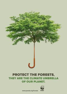 Publicité - Creative advertising campaign - WWF: Protect the forests. They are the climate umbrella of our planet
