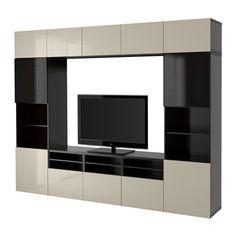 БЕСТО Шкаф для ТВ, комбин/стеклян дверцы - черно-коричневый/Сельсвикен глянцевый/бежевый/дымчатое стекло, направляющие ящика, плавно закр - IKEA