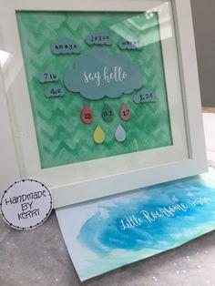 Nursery art decor cloud & raindrops with say hello.