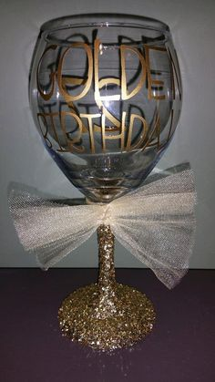 GOLDEN Birthday Personalized Glitter Stemmed by ByJusteenCrafts