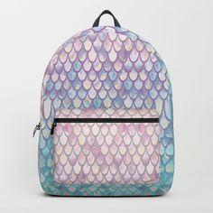 """A must for every #mermaid -  #backpack #mermaidscales #society6 #artlovepassion Our Backpacks are crafted with spun poly fabric for durability and high print quality. Thoughtful details include double zipper enclosures, padded nylon back and bottom, interior laptop pocket (fits up to 15""""), adjustable shoulder straps and front pocket for accessories. Dry clean or spot clean only. One unisex size: 17.75""""(H) x 12.25""""(W) x 5.75""""(D)."""
