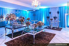 decoração 15 anos azul e rosa - Pesquisa Google
