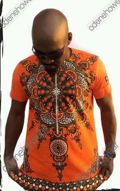 Odeneho Wear Mens Polished Cotton Top With Dashiki Design Top..  Our top and bottom are usually custom made. Please email us if you have the