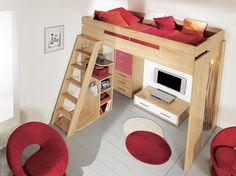 Lit mezzanine pour un studio / Mezzanine bed for a small appartment : http://www.maison-deco.com/chambre/deco-chambre/Tendance-le-lit-mezzanine/Un-lit-mezzanine-pour-un-studio