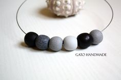 Unique handmade necklace/Black and grey beads/Unique by GATODesign