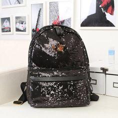 dcbf348fd740 Buy Glitter Backpack Women Sequin Backpacks For Teenage Girls Rucksack New  Fashion Brand Gold Black School Bag Mochilas Xa582H  34.87- ICON2