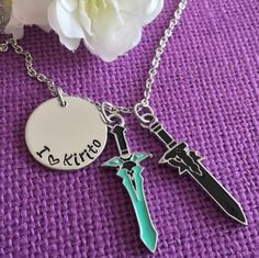 I love Kirito necklace Sword Art Online inspired by DesignsByTeraW
