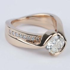 Cushion Bezel Bridge Engagement Ring in Rose Gold