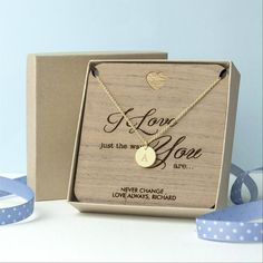 'I Love You' Single Charm Personalised Necklace - Gold (Shown), Rose G – Luxe Gift Store