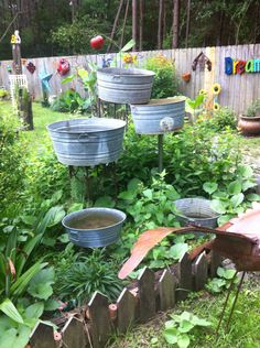 Fountain made of old wash tubs