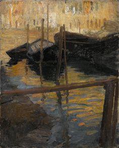 blastedheath: Ettore Tito (Italian, 1859–1941), Gondolas in Venice. Oil on canvas, 39 x 31 cm.