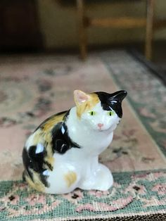 Vintage 1982 Sylvia Mobley Porcelain Calico Cat Miniature Dollhouse Sitting #SylviaMobley