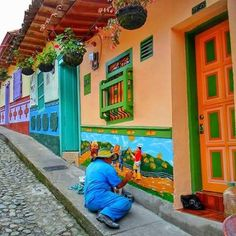Around the World and then some Guatape' Antioquia Colombia Fonda Paisa, Colombia Travel, Colourful Buildings, Spanish House, South America Travel, House Painting, Urban Art, Installation Art, Art Installations