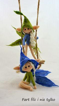 No tute but plenty of lovely photos for inspiration. Clay Fairies, Flower Fairies, Fairy Crafts, Doll Crafts, Felt Fairy, Fairy Furniture, Fairy Figurines, Felting Tutorials, Fairy Dolls