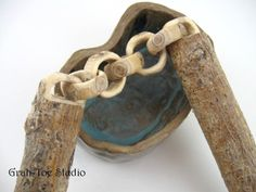 whittled wood chain Lilac Wood   Grahtoestudio - Woodworking on ArtFire