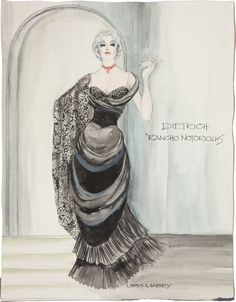 Marlene Dietrich Rancho Notorious Costume Design Sketch by Moss Mabry