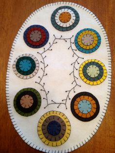 Primitive Oval Penny Rug Colorful Pennies by CrookedCrowCrafts