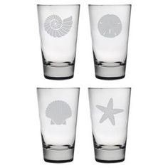 """Showcasing a hand-etched sea life motif, this chic highball glass is perfect for offering a crisp cocktail at your next soiree or enjoying a fresh iced tea with dinner. Made in the USA.   Product: Set of 4 highball glassesConstruction Material: GlassColor: ClearFeatures:  Sand etched by hand Made in the USA  Each glass holds 15 ounces Dimensions: 5.88"""" H x 3.5"""" Diameter Cleaning and Care: Dishwasher safe"""