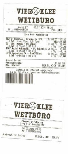 Kombiwette - Livewette - Gewinn Ticket, Live, Personalized Items