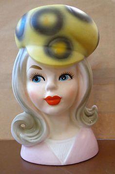 Woman Lady Head Vase with Wild Hat 50's 60'S | eBay