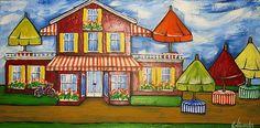 Orange Striped Awning by Jill Alexander Vibrant Colors, Colours, Fine Art America, Art Deco, Artsy, Paintings, Stitch, Wall Art, Orange