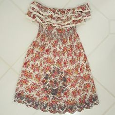 Strapless Summer Floral Dress Delicate embroidery. Scalloped finish. Super cute with cowboy boots. Dresses Strapless