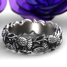 Staggered Thistle Engagement Band, 925 Sterling Silver Scottish Ring, Unique Rings for Her, Handcrafted Rings, Custom Size 5098 Of Montreal, Celtic Rings, Engagement Bands, Custom Jewelry Design, Celtic Designs, Rings For Her, Wedding Sets, Wedding Bands, Silver Flowers