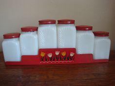 Vintage Red Metal Spice Rack w/ Milk Glass Jars