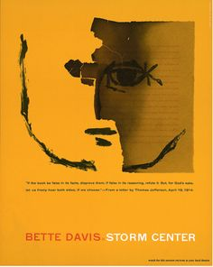 Bette Davis: Storm Center (Cover Illustrated by Saul Bass) Saul Bass Posters, Film Posters, Campaign Posters, Modern Graphic Design, Graphic Design Inspiration, Graphic Designers, Storm Center, Pop Art, St Joan