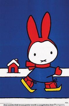 Poster by Dick Bruna - Pampers Nijntje (Miffi) on skates