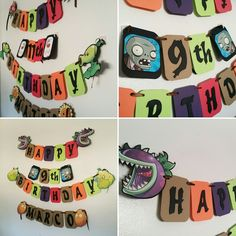Plants vs zombies banners Plants Vs Zombies, Zombie Birthday Parties, Boy Birthday, Zombie Party Decorations, Diy Perler Beads, Party Banners, Happy B Day, Craft Party, Cozy House