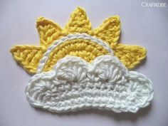 Free Crochet Pattern: The Rising Sun. Turned this into a fridge magnet with some magnetic tape