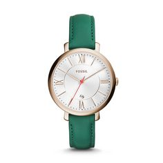 Designed for the classic tomgirl with a hint of glam, Jacqueline pulls it all together with a teal leather strap, rose gold-tone case and matching indices.