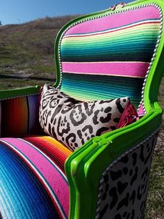 Made to Order** Custom Pink and Green Serape and Leopard Print Cowhide Chair Cowhide Furniture, Cowhide Chair, Reupholster Furniture, Western Furniture, Furniture Reupholstery, Furniture Makeover, Painted Furniture, Diy Furniture, Leather Fringe