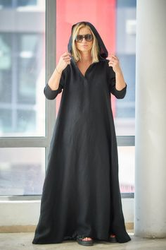Black Linen Dress, Plus Size Clothing, Caftan Dress ♠ Casual style with extravagant touch ideal for your provocative nature. The delicately crafted pieces from natural materials will embrace your body in a perfect fit. Dare to be Visible! ♠ Sizes The model on the picture is 168 cm/55
