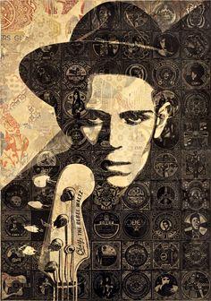 """Rebel Waltz"" collage print by artist Shepard Fairey, in the image of Clash bassist Paul Simonon."