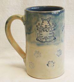 Stoneware 16oz fat cat coffee mug 16B076 by desertNOVA on Etsy, $22.00