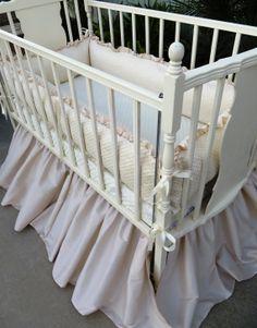 Creamy/Tan Faux Silk Dupioni Crib SKIRT  Ready by sewwhatgrandma, $99.00