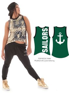 Customized sequin tank for Waterloo Columbus Catholic high school dance team 2015-2016 hip hop dance costume