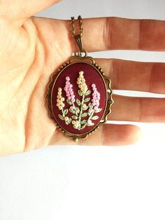 Flower Bouquet Leaf Necklace Ivory Pink Dark by RedWorkStitches