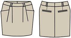 "Exemplos de modelos de saias concebidos com base num programa de cálculo ""cortador"""
