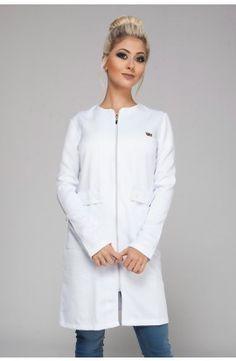 Jaleco Feminino Donna - em gabardine na cor branca Solange, Lab Coats, Scrubs, Chef Jackets, Medical, Zipper, Outfits, Clothes, Fashion