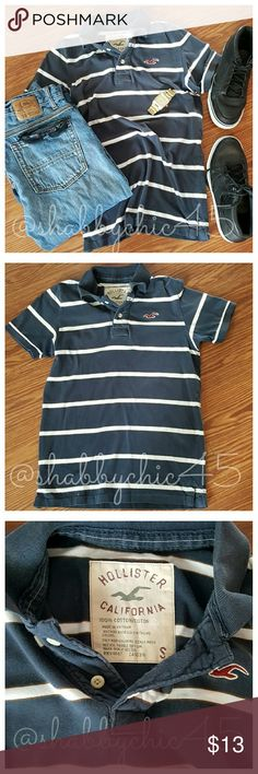 Hollister Soft Stretch Striped Polo Shirt FIRM EUC Hollister navy and white with maroon accent striped short sleeve shirt in soft stretch style.  Throw on your favorite pair of jeans or shorts, grab your backpack, and your ready to head back to school or to the mall with friends. PRICE IS FIRM.    Smoke free home. No trades. Open to reasonable offers unless marked as firm.? Happy Poshing!! Hollister Shirts Polos