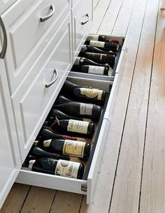Design Idea – Include Toe Kick Drawers In Your Cabinetry For Extra Storage Kitchen Design Idea - Toe Kick Drawers // They are perfect for wine storage.Kitchen Design Idea - Toe Kick Drawers // They are perfect for wine storage. Kitchen Drawers, Kitchen Redo, Kitchen And Bath, Kitchen Storage, Kitchen Cabinets, Kitchen Ideas, Storage Room, White Cabinets, Cabinet Storage