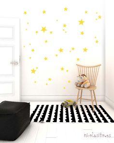 Vinilos decorativos de estrellas amarillas para pared o muebles