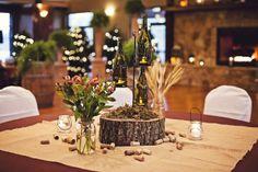 Indoor rustic wedding centerpiece