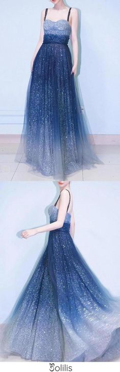 Elegant A Line Royal Blue Straps Floor Length Prom Dresses, Ombre Dance Dresses SJS15150, This dress could be custom made, there are no extra cost to do custom size and color