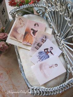 Vintage Ballet Cards with Folder for Dollhouse by alavenderdilly, $7.50
