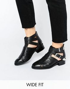 ARABELLA Wide Fit Cut Out Leather Boots